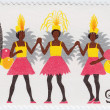 Afro american Christmas dancers — Stock Photo