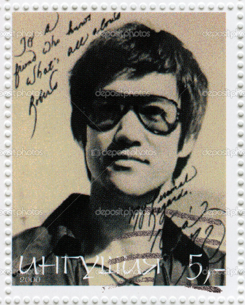 Stamp printed in Ingushiya with Bruce Lee, circa 2000 — Stock Photo #4473045