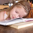 Stock Photo: Girl sleep at books
