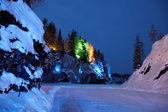 Color illumination in winter season on Marble Snowy Mountain in — Stock Photo