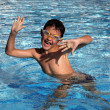 Funny Boy in the pool — Stock Photo