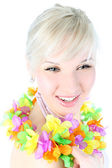 Girl in hawaiian flower — Stock Photo