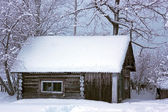Winter rural landscape with house — Stock Photo