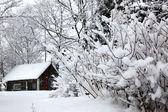 Paisaje rural de invierno, casa bajo nieve — Foto de Stock