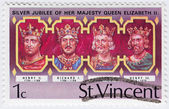 UK Kings - Henry II (L) , Richard I , John, Henry III — Stock Photo