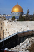 Western Wall (Wailing Wall, Kotel) and Dome of the Rock in Jerus — Stockfoto