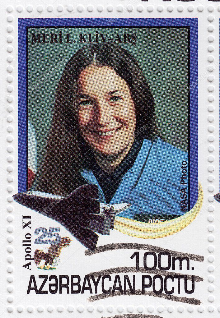 Stamp printed in Azerbaydjan shows Meri Cliv former NASA astronaut, circa 2000 — Stock Photo #5150110