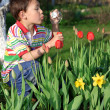 Boy with tulips soap bubble — Stock Photo