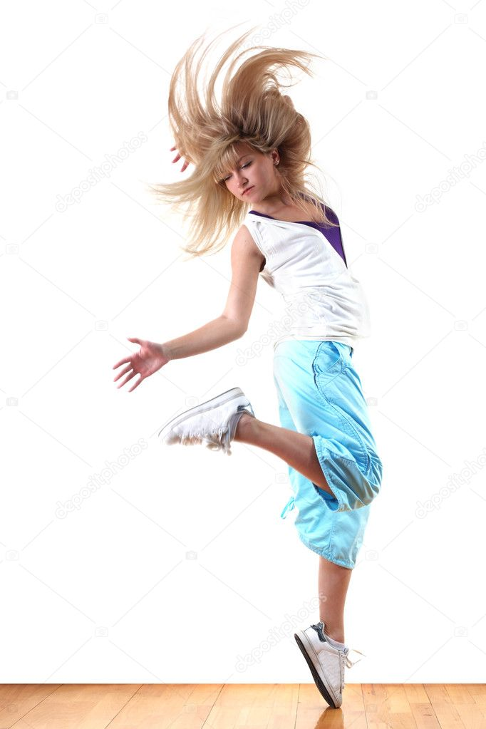 Woman modern ballet dancer in ballroom — Stock Photo #5300642