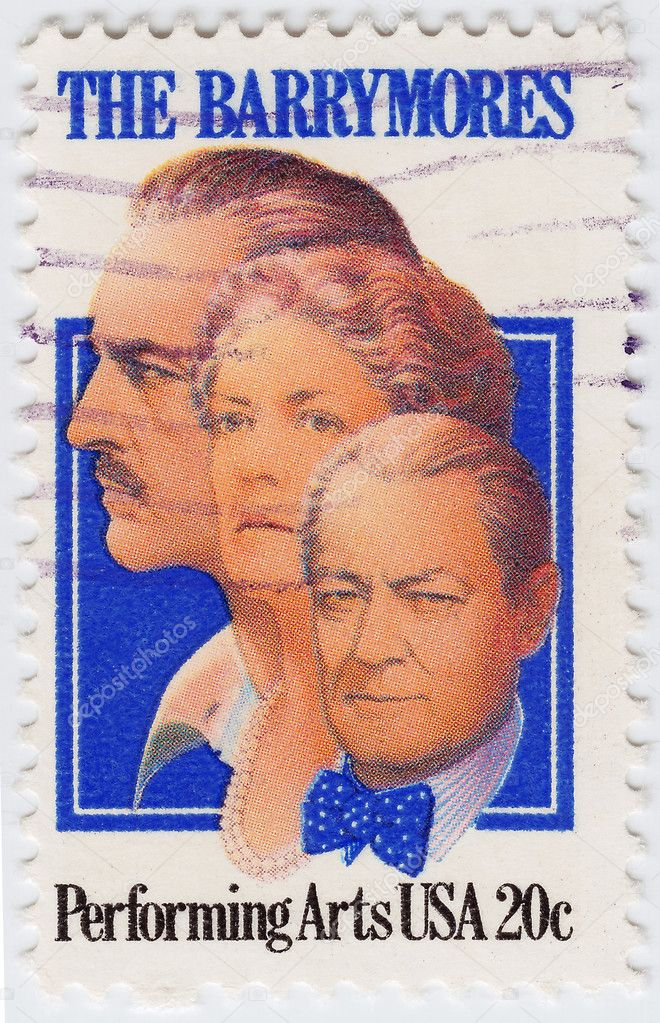 Stamp printed in USA honor the memory of actors John, Ethel and Lionel Barrymore, circa 1982  — Stock Photo #5350689