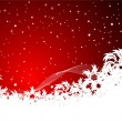 Red christmas background with snowflakes — Stock Vector