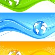 Royalty-Free Stock Vector Image: Set of wavy banner with globe