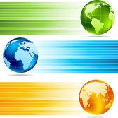 Zbiór banery z globusy — Wektor stockowy