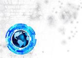 Tech achtergrond met globe — Stockvector