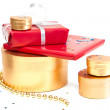Red and gold gift boxes. — Stock Photo