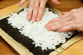 Making sushi rolls. — Stock Photo