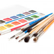 Watercolors with paint brushes. — Stock Photo