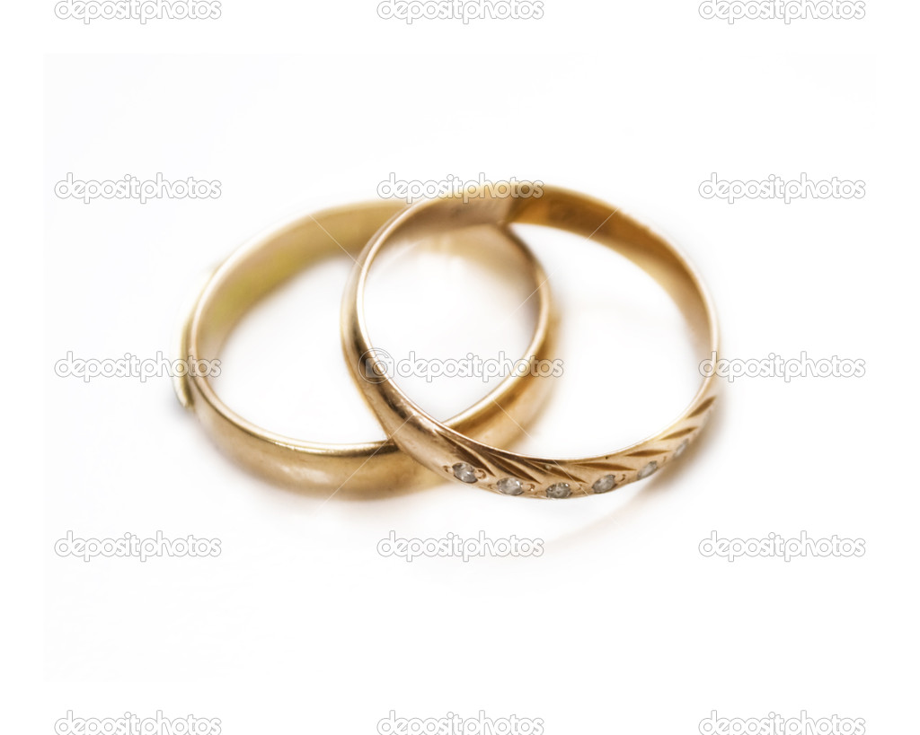 Wedding rings on white background  Stock Photo #4991851