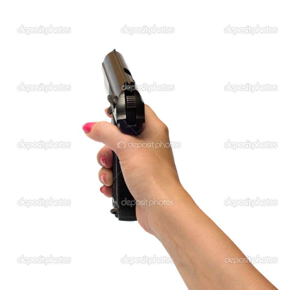 Female hand with a pistol it is isolated on a white background. — Stock Photo #4160949