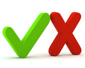 3d green yes check mark and red no — Stock Photo
