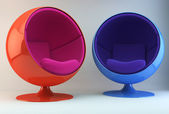 Two multi-colored armchairs — Stock Photo