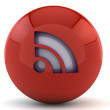 Red sphere with RSS sign — Stock Photo