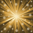 Stock Vector: Gold rays and snowflakes