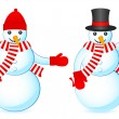 Two snowmans — Stock Vector