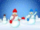クリスマスの風景とプレースノウマンズ — ストックベクタ