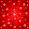 Stock Vector: Red rays and snowflakes