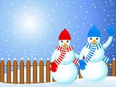 Christmas snowmans background — Stock Vector