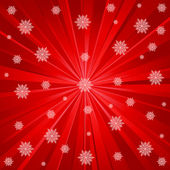 Red rays and snowflakes — Stock Vector