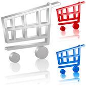 3D shopping cart symbol — Stock Vector