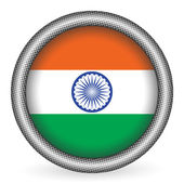 India flag button — Vector de stock