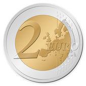 Muntstuk van 2 euro — Stockvector