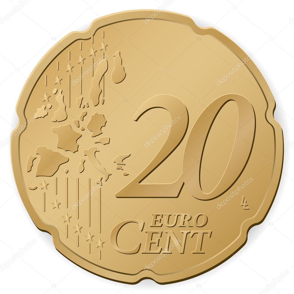 20 euro cent isolated on a white background. Vector illustration. — Stock Vector #4383778