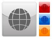 Quadratische web-schaltflächen-globus — Stockvektor