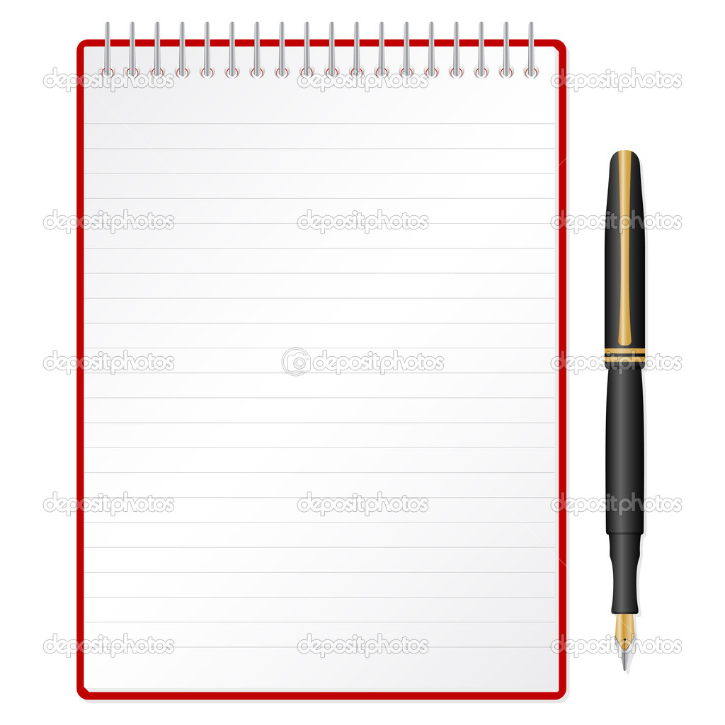 Fountain pen and spiral notepad. Vector illustration. — Stock Vector #4676685