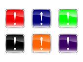 Button exclamation mark — Stock Vector