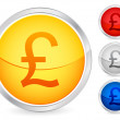 British pound button - Stock Vector