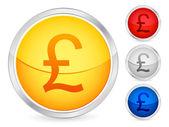 British pound button — Stock Vector
