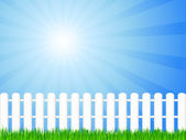 Wooden fence and grass — Stock Vector