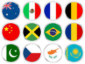 National flags circle icon set 2 — Vettoriale Stock
