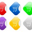 Royalty-Free Stock Vector Image: Shopping cart square stickers