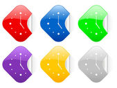 Uhr quadratische aufkleber — Stockvektor