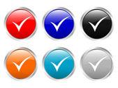 глянцевые кнопки проверить символ — Cтоковый вектор