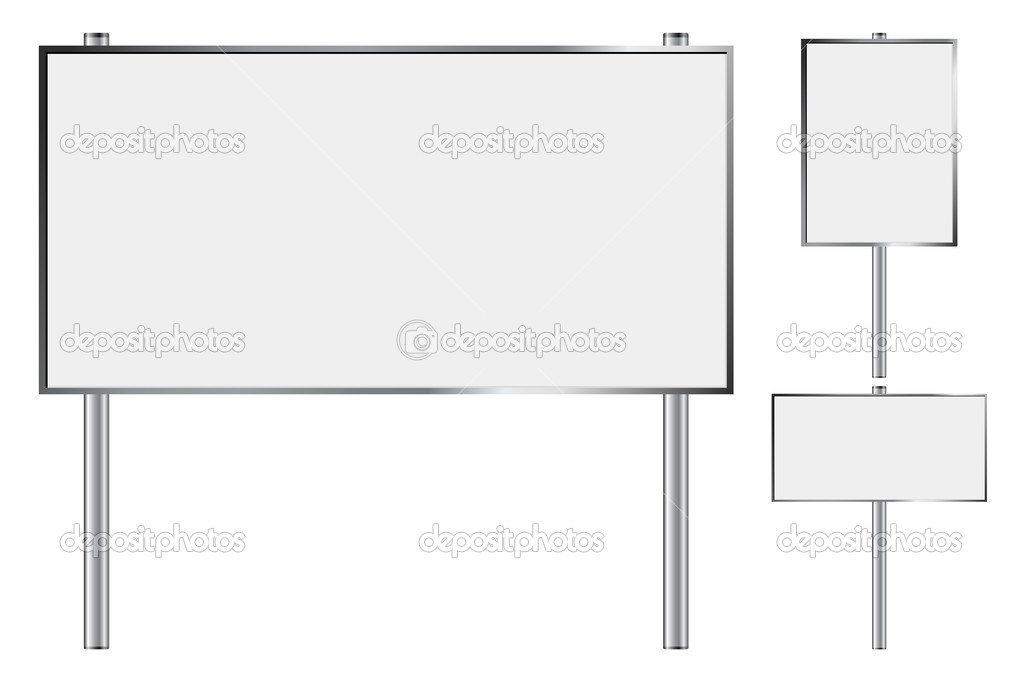 Isolated blank billboard set on a white background. Vector illustration. — Stock Vector #5331967