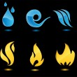 Stock Vector: Water and fire glossy icons