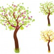 Three trees in different time of year — Stock Vector