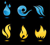 Water and fire glossy icons — Stock Vector